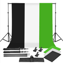 ZUOCHEN Photo Studio Black White Green Backdrop Chroma Key Screen Background Stand Kit