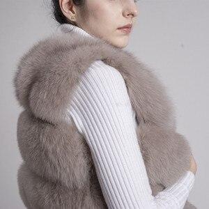Image 5 - QIUCHEN PJ8005 2020 새로운 도착 뜨거운 판매 자연 진짜 여우 모피 짧은 조끼 gilet 겨울 여성 조끼 고품질 두꺼운 모피