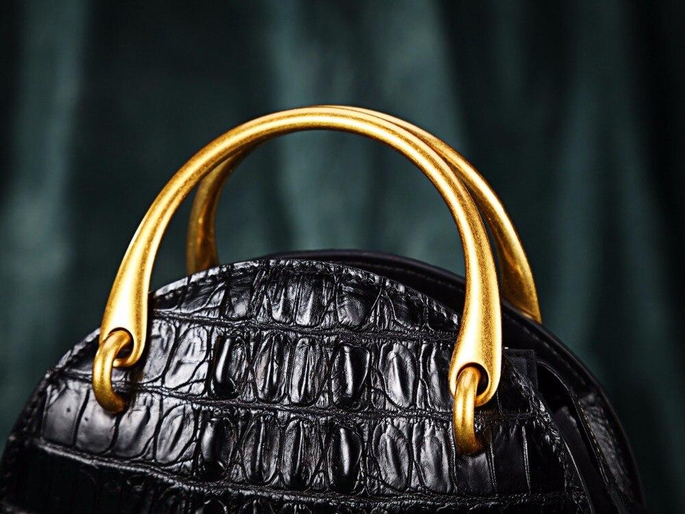 Haut Griff Dame Frauen Tasche Alligator Schulter Leder Schwarzes Echten Weibliche Designer Runde Gold Handtasche Metall Krokodil Kleine Kreisförmige wtqf41