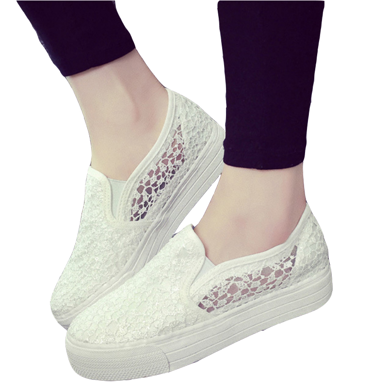 2017 Spring Summer Woman Casual Flats Slip On Breathable Canvas Lace Platform Shoes For Ladies Loafers Z841 Tenis Feminino summer women shoes casual cutouts lace canvas shoes hollow floral breathable platform flat shoe sapato feminino lace sandals