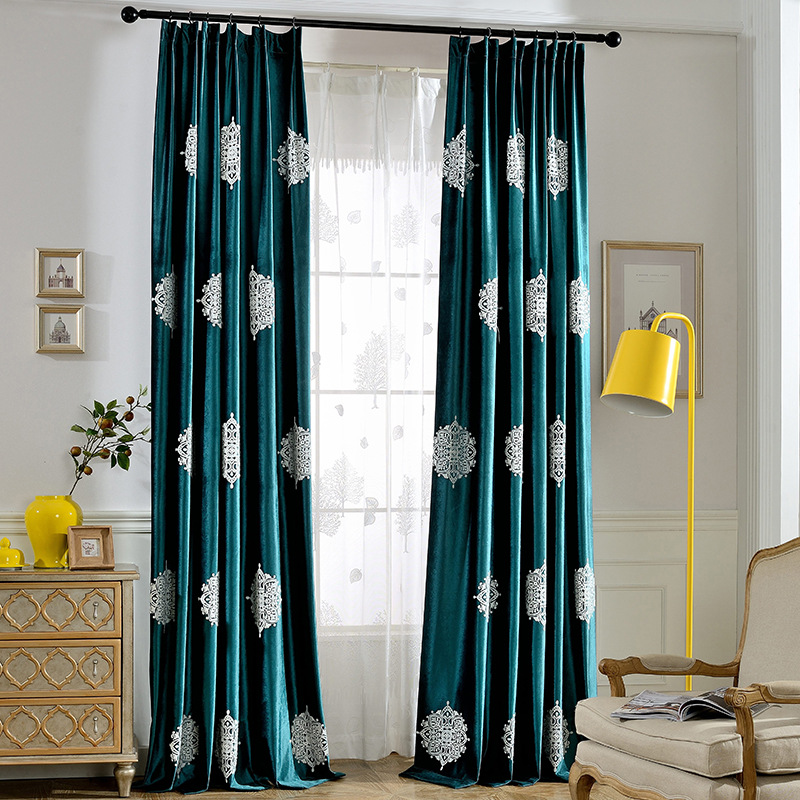 Curtains for Living Room and Bedroom Modern Simple Chinese Curtain Italian Velvet Embroidered Shade