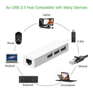 Image 2 - Adaptador USB a Ethernet, 3 puertos, Hub USB 2,0, Ethernet, RJ45, Lan, tarjeta de red cableada para tarjetas de red de PC Android, RTL8152, 10/100Mbps