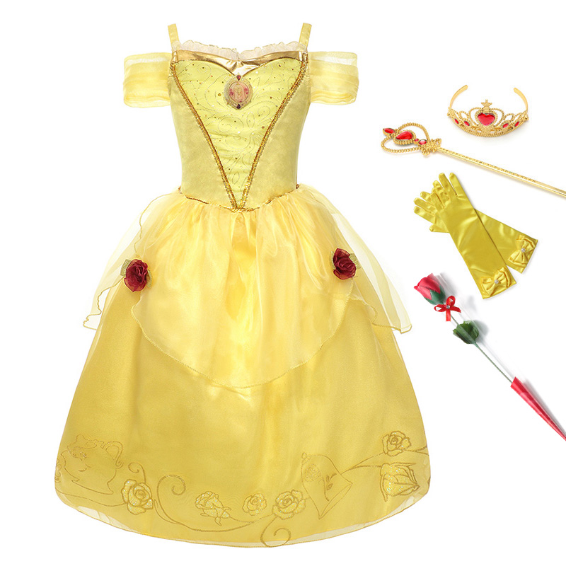 Princess Belle Dress for Girl Costumes Kids Floral Ball Gown Child Cosplay Bella Beauty and The Beast Costume Fancy Party DressPrincess Belle Dress for Girl Costumes Kids Floral Ball Gown Child Cosplay Bella Beauty and The Beast Costume Fancy Party Dress