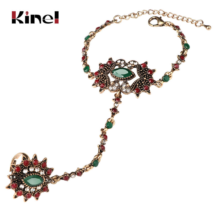 Kinel Unique Bracelet link Ring Set For Women Turkish Jewelry Antique Gold Crystal Flower Vintage Wedding Jewelry 2017 New