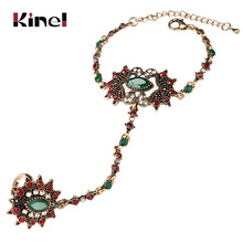 Kinel Unique Bracelet link Ring Set For Women Turkish Jewelry Antique Gold Crystal Flower Vintage Wedding Jewelry 2017 New(China)