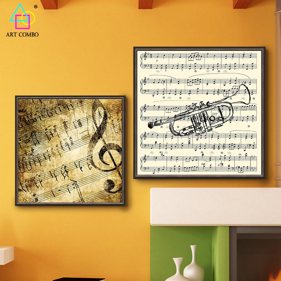 Unframed Creative Art Painting Musical Instruments Score Notes ...