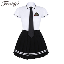 קוריאני תלמידה אחיד לבן למעלה שחור חצאית עם תג ולקשור עבור יפני סיילור מדים תלמיד קוספליי תלבושות חליפה
