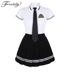Image 1 - Korean Schoolgirl uniform White Top Black Skirt with Badge and Tie for Japanese Sailor Uniforms Student Cosplay Costume Suit
