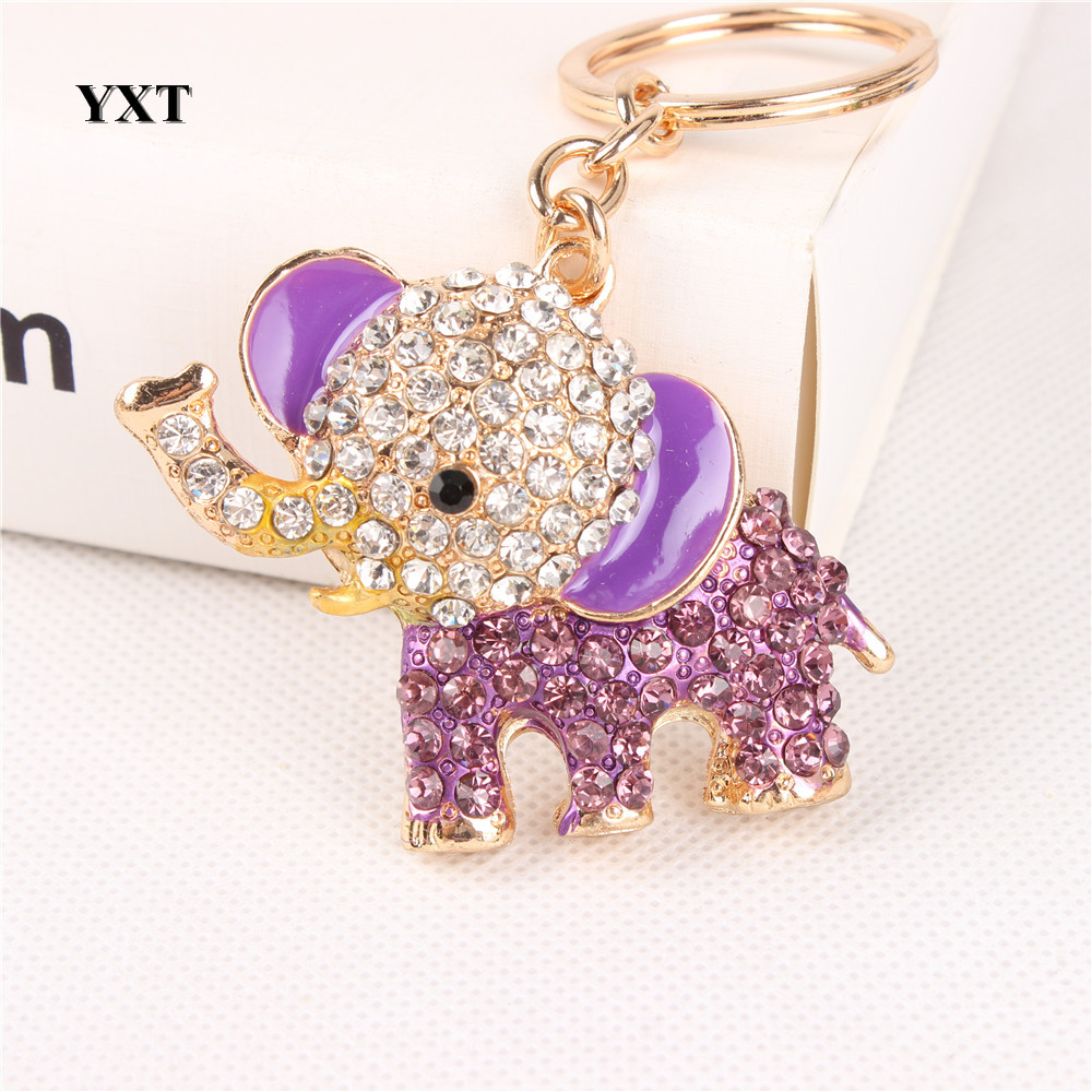 Purple Elephant Lovely New Crystal Pendant Charm Purse Bag Car Key Ring Chain  Nice&Substantial Gift Original Handmade