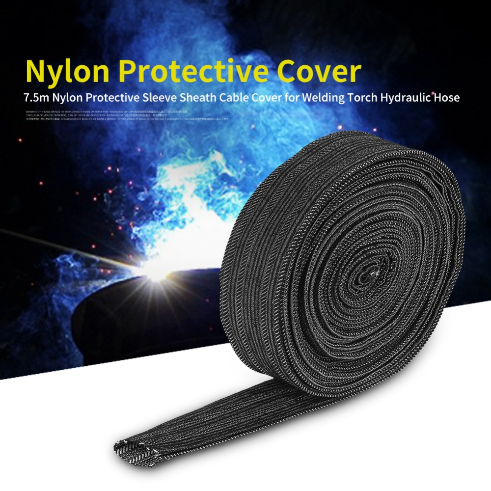 25FT Protective Sleeve Sheath Cable Cover Welding Tig Torch Hydraulic Hose Nylon