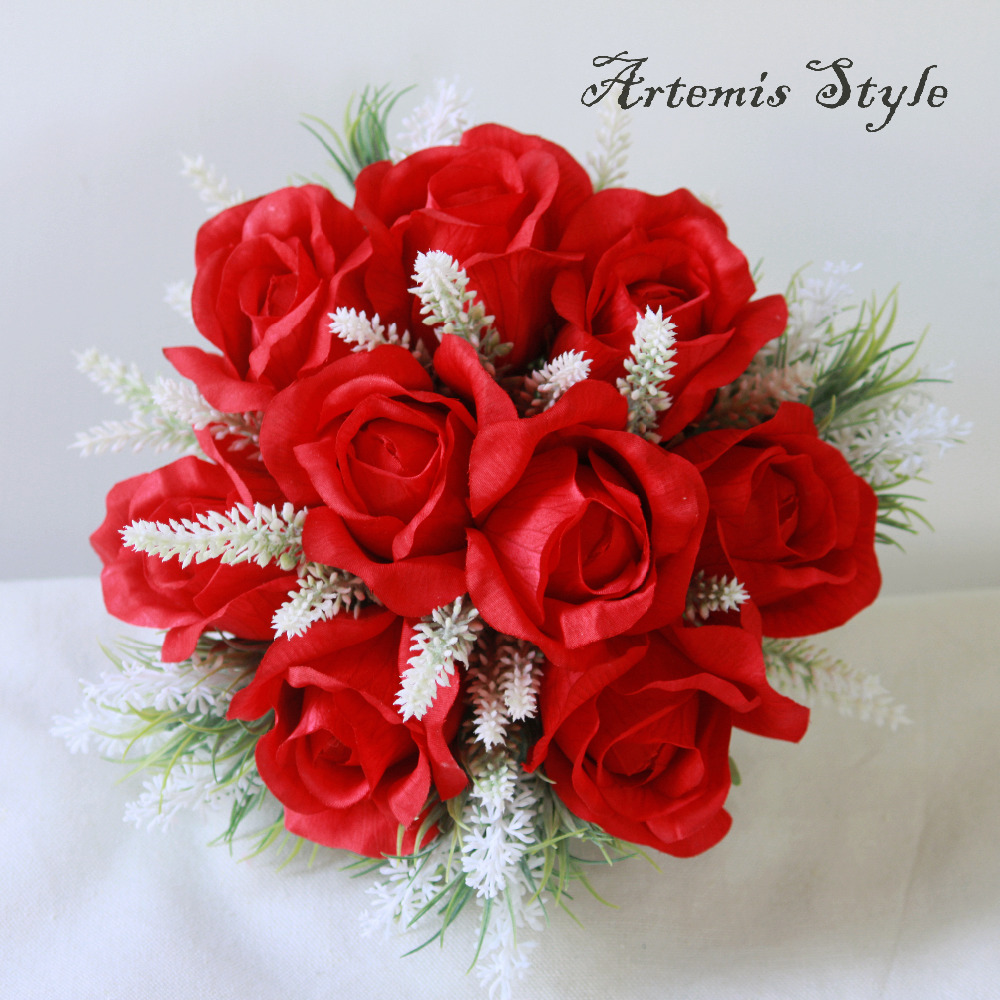 Bridal Bouquet Groom Boutonniere Matching Silk Red Roses Wedding