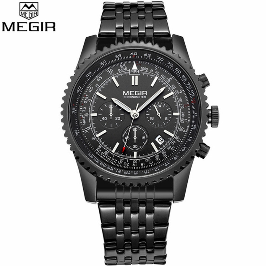 цены на Montre Homme Luxury Watch Men MEGIR Fashion Business Clock Man Famous Brand Watches Luminous Stainless Steel Male Quartz Watch