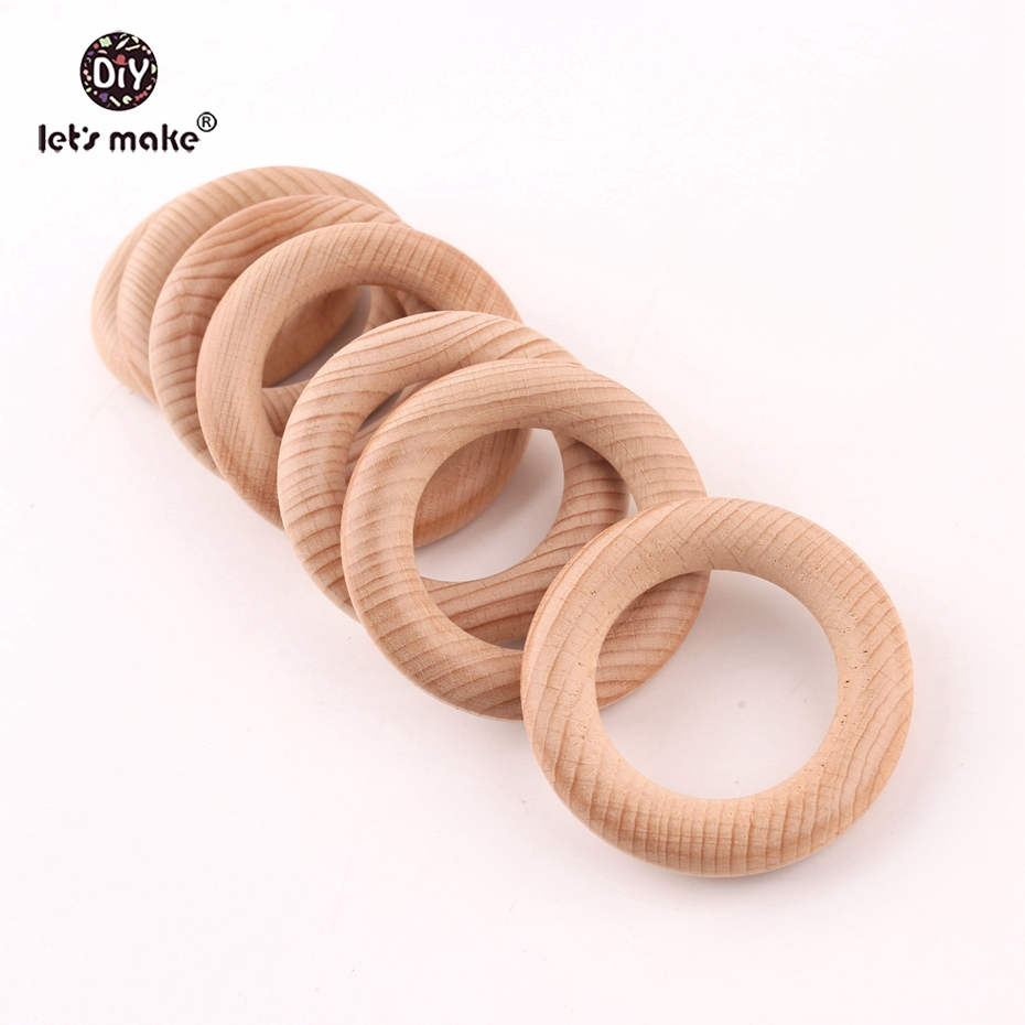 Let's Make Beech Wooden Teething Ring 65mm 20pcs Baby Teether DIY Nursing Materials Accessories Necklace Making Tiny Rod Ring