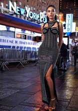 2016 New Top Quality Dubai Elegant Maxi Front high slit Black diamond Fashion luxury Leisure woman