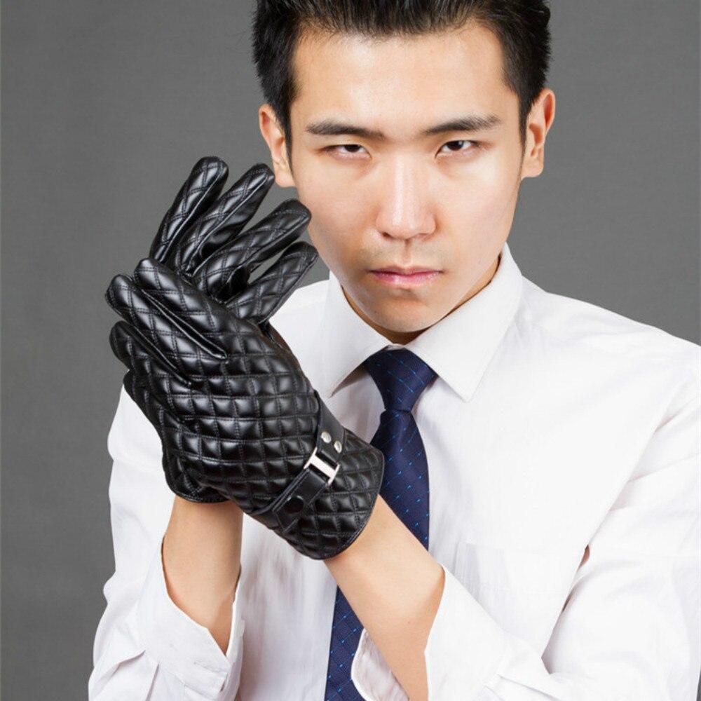 Mens velvet gloves - New Touch Screen Men Winter Plus Velvet Warm Gloves Drive Pu Black Winter Gloves Mittens Manufacturers