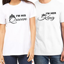 Original pstyle couple t shirt for lovers summer short sleeve t-shirt king and queen letters print tshirt brand tee tops цена