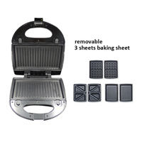 waffle maker bread cake bakeing machine eggs sandwich maker breakfast electrical mini multifunction 3 plates removable cooking