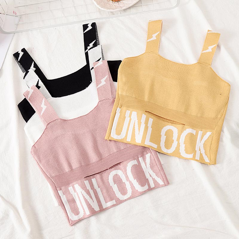 Image 5 - HELIAR Female Camisole Knitting Camis Crop Top Letter UNLOCK Cotton Camisole Femme Camis With Hole Women 2019 Summer Tank Tops-in Camis from Women's Clothing