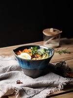 Japanese style ceramic glazed rice soup noodle ramen bowl family dining salad deepen big bowl tableware