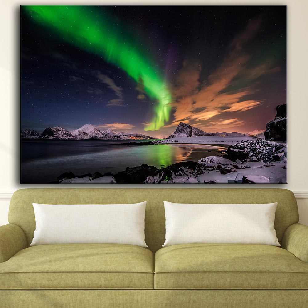 Printing Oil Painting Wall Art, Wall Decor, Wall Painting Aurora borealis clouds mountains Nice Painting for wall picture