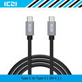 ICZI USB-C to USB-C Cable 2M Nylon Braided USB C Type C Cable for Macbook Chromebook Pixel HTC 10 LG G5 Nexus 6P and More