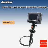 Диаметр 5.3 мм Водонепроницаемый 4.3 ''ЖК-дисплей промышленности Borescope 2-способ TurnRound производственный контроль эндоскопа Змея Камера USB dr4553t