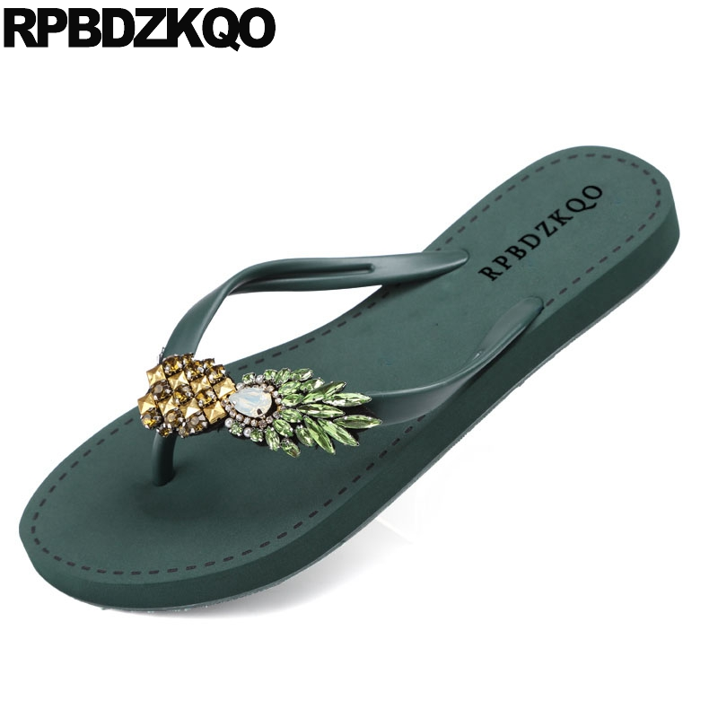 65aa57ee1c7bdd Pineapple Jewel Crystal Burgundy Diamond Summer Flip Flop Slides Shoes  Rhinestone Women Sandals Flat Casual Holiday Beach Green