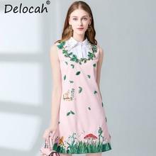 Delocah New 2019 Spring Summer Women Dress Runway Fashion Designer Elegant  Diamonds Printe Embroidery Casual Sleeveless Dresses автохолодильник mobicool g26 ac dc