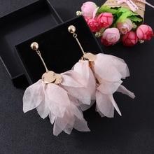 Badu Trendy Big Flower Yarn Earring Long Dangle Pink Floral Drop Earrings Bohemian Jewelry for Party Wholesale