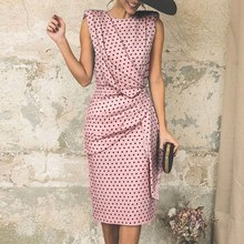 Elegant Sleeveless Office Dress Fashion Polka Dot Printed Casual Retro Female Pleated Knee-Length