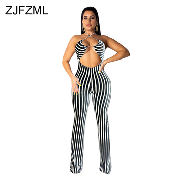 Black White Striped Rompers Womens Jumpsuit Off The Shoulder Backless Bodycon Overall Casual Halter Front Cut Out Club Bodysuit cut out front fringe hem jumpsuit