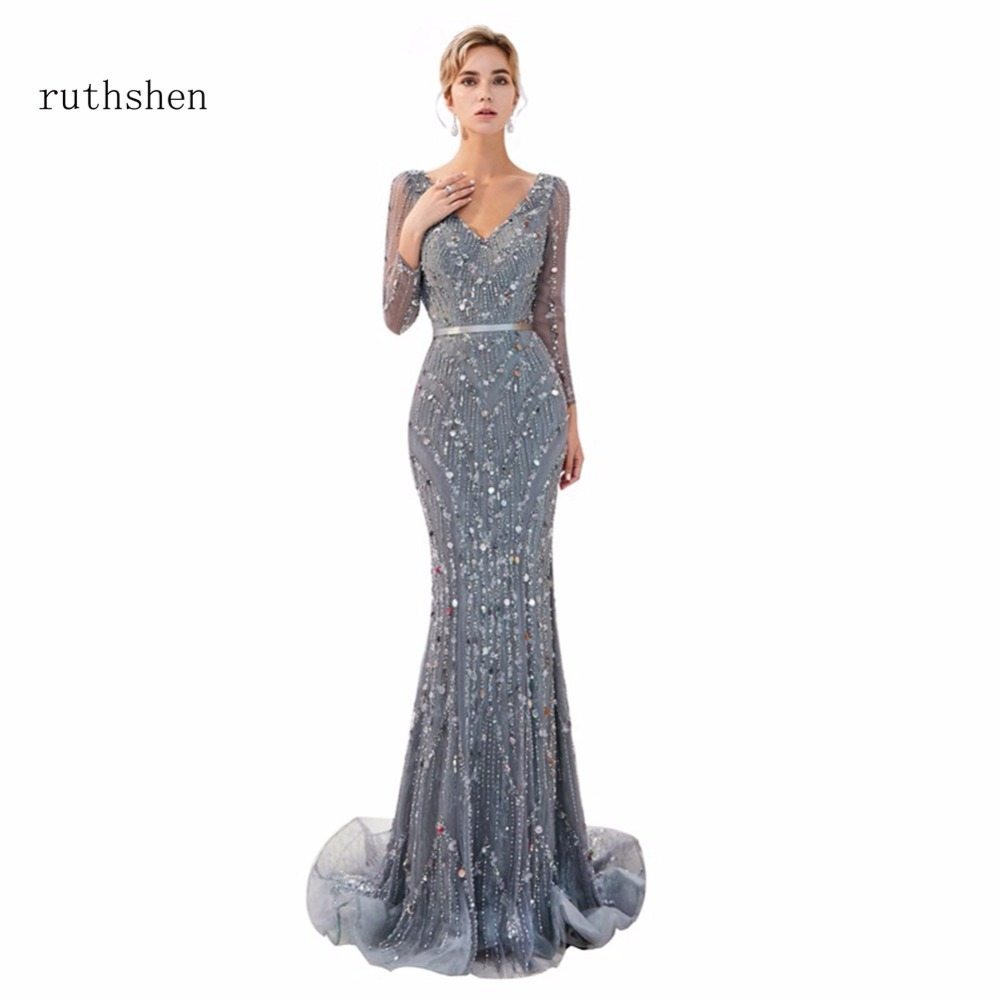 ruthshen Robe De Soiree In Stock Luxury Long Evening Dresses Size 2 -Size 16 Beads Formal Prom Dress Vestito Da Sera Real Photos