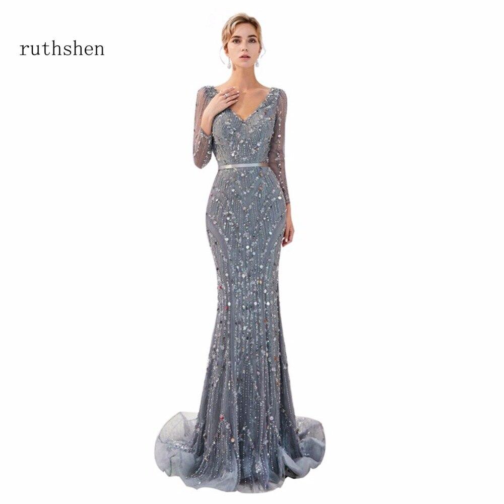 ruthshen Robe De Soiree In Stock Luxury Long   Evening     Dresses   Size 2 -Size 16 Beads Formal Prom   Dress   Vestito Da Sera Real Photos