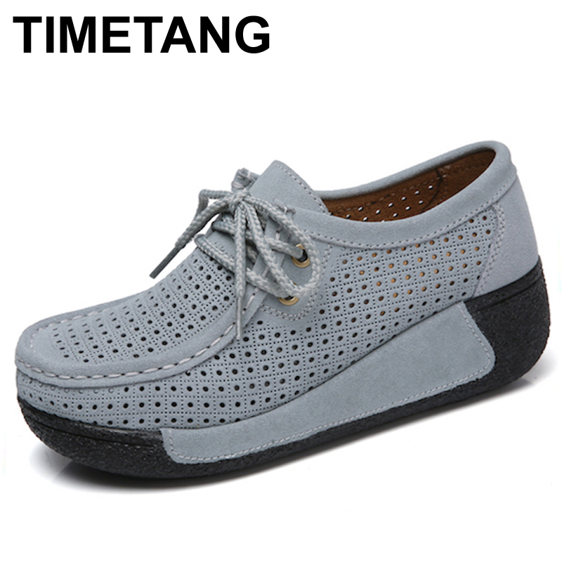 TIMETANG Women Flats Platform Shoes Suede Leather Lace up women Moccasins Creepers slipony Female Casual Summer Shoes Ladies