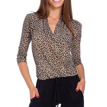 Winter Women V Neck Three Quarter Sleeve Leopard Print Slim Shirt Casual Womens Tops And Blouses