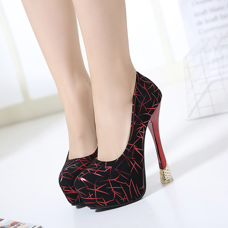 15cm Extreme High Heels Pumps Women Platform Heel Black Pumps Red Wedding Shoes Sexy Pumps Women Shoes SMYYKM-D0037