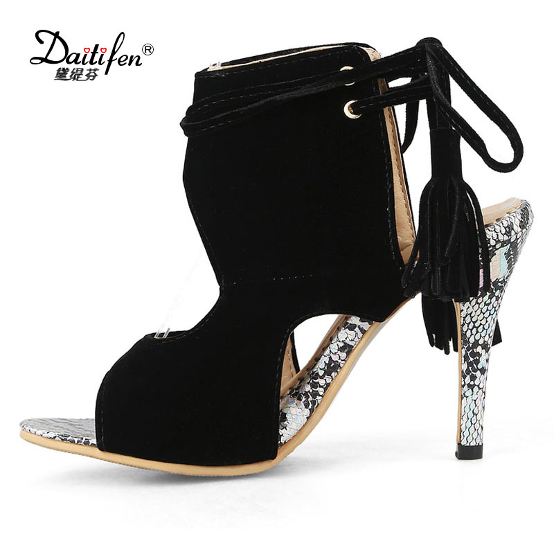 Daitifen Plus size Fashion Party lady Summer shoes Sexy Peep toe Fringe women Sandals Hollow Slingback Lace-up high heel Pumps