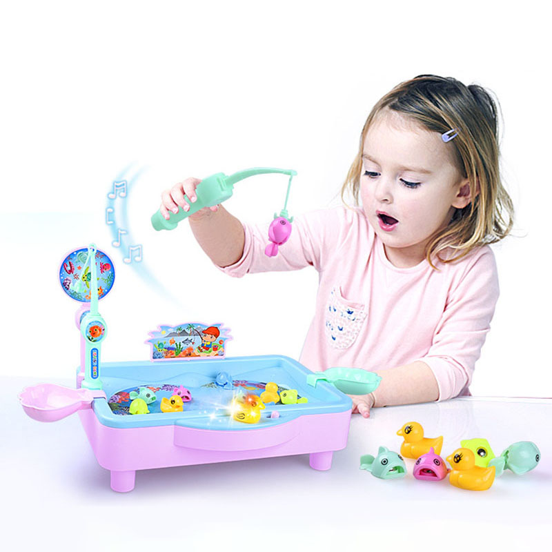 Fishing toy set children magnetic boy girl baby kitten electric fishing puzzle play water toys for baby gifts