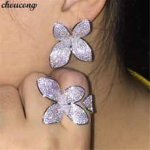 choucong Luxury Flower Ring Pave setting 166pcs 5A Zircon Cz 925 Sterling Silver Engagement Wedding Band Rings for women Gift(China)