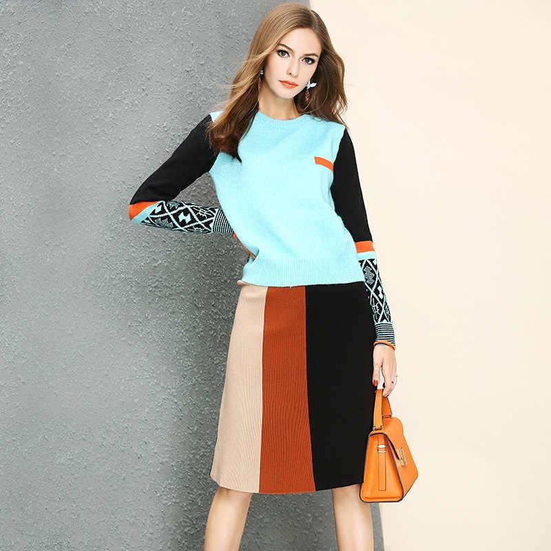 05e9f97c388 Европа для женщин костюмы новая мода хит цвет О образным вырезом одежда с длинным  рукавом Свободные