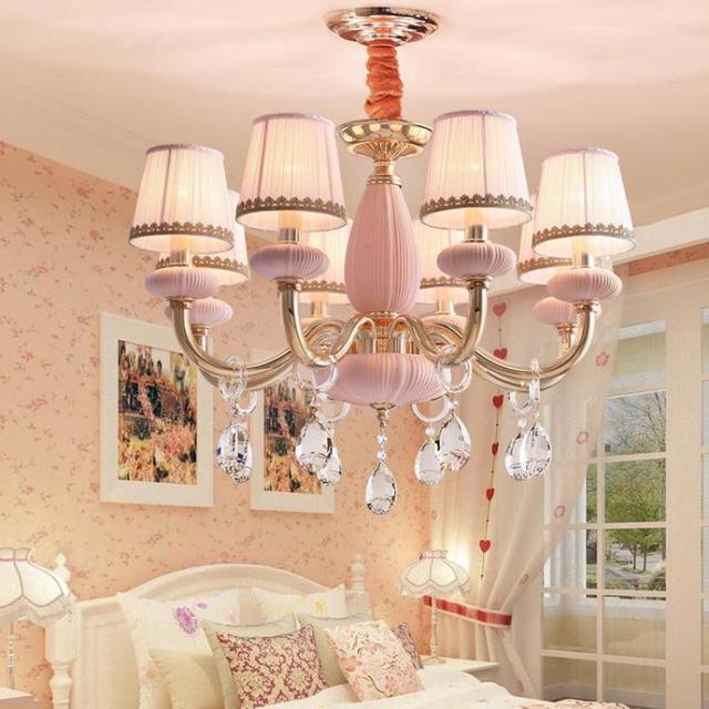 US $389.0 |Modern Lustre Crystal Chandeliers Girls Romantic Wedding Room  Bedroom Lights Princess Room led chandelier lighting-in Chandeliers from ...