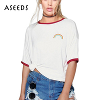 Kawaii Rainbow Print T Shirt Women Loose Short Sleeve White T Shirt 2017 Summer O Neck