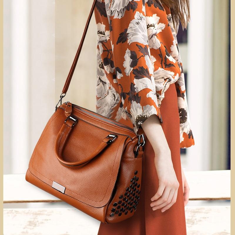 2018 Rivet Design Women Boston Bag 100% Real Leather Soft Women Handbag  Elegant Style Female 7f8f2df5f1bc