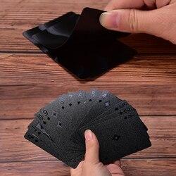 Водонепроницаемые черные игральные карты коллекция пластиковых карт черный бриллиант покерные карты креативный подарок стандартные игра...