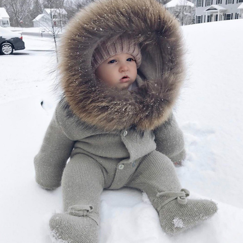 Baby Outwear Winter Warm Hoodie Rompers for Newborn 100% Cotton Comfortable Boy Girl Infant Babe Clothes Coat Gray Pink 3M-3T newborn baby rompers baby clothing 100% cotton infant jumpsuit ropa bebe long sleeve girl boys rompers costumes baby romper
