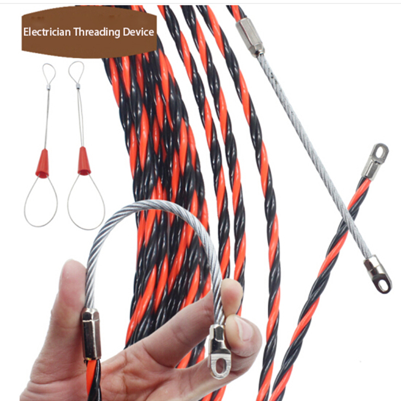 1PC Wire Cable Puller 5-50M Dia 6.3mm Fish Tape Nylon Wire Cable Puller For Electrician Threading Device Cable Puller Tool