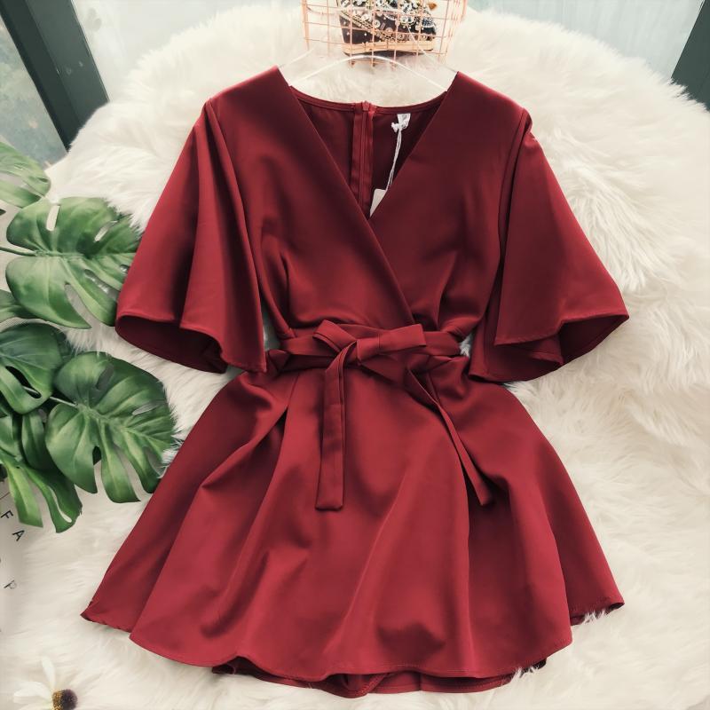 2018 Lady New Fashion Dresses Women Solid Color Elegant V neck Short Flare Sleeves High Waist Slim Elegant Female Vestidos B903