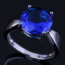 Magnificent Round Blue Cubic Zirconia 925 Sterling Silver Ring For Women V0442