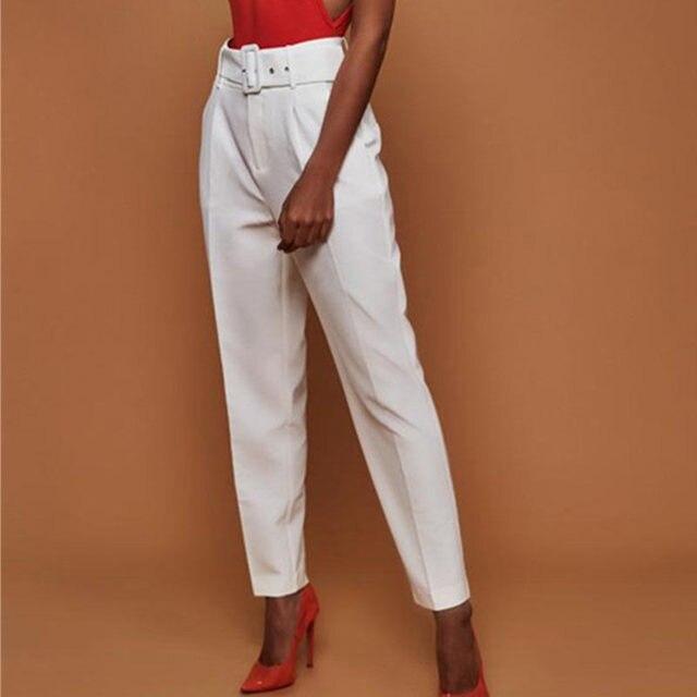 Casual Pants High Waist Autumn Belted Straight Leg Slacks Office Lady Suit Pants Women Trousers 3