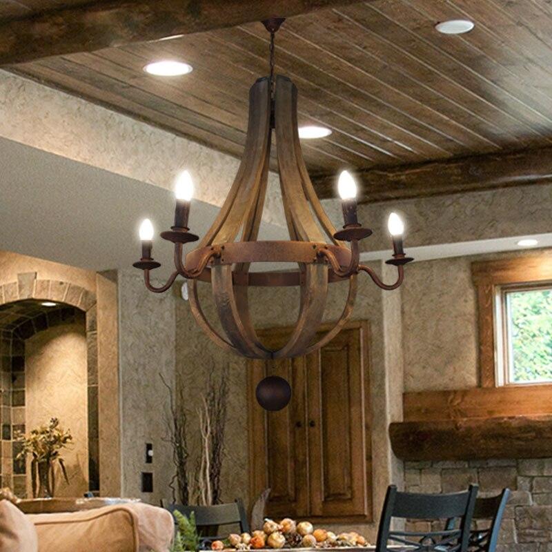 Americká venkovská dřevěná E14 Žárovka Dia 40CM / 50CM / 80CM Dřevěné lustrové závěsné lampy Závěsná lampa do ložnice, Obývací pokoj